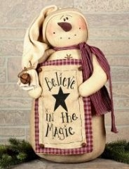 Snowman Ornaments - Believe in Magic Primitive Snowman