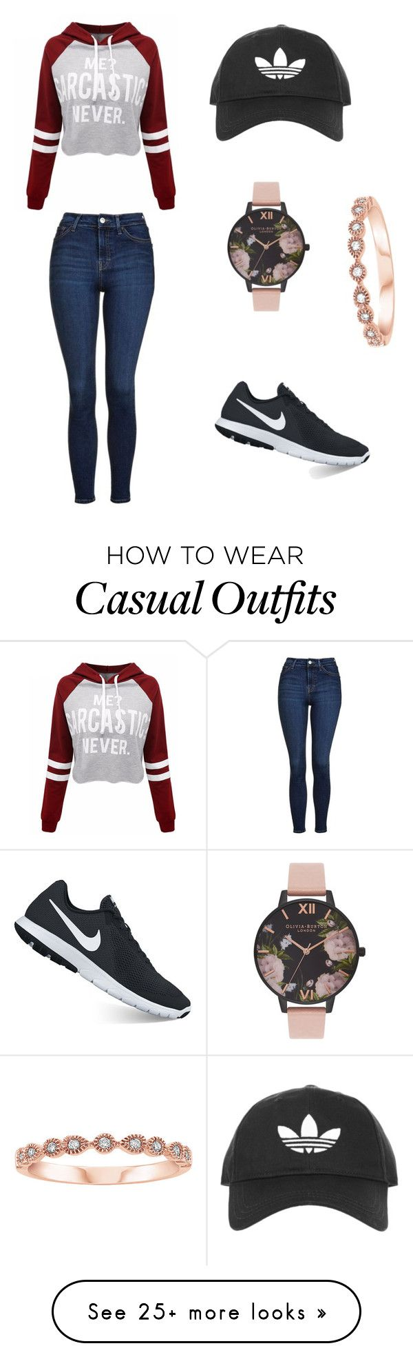 """Casual/comfy ootd"" by fashion2409 on Polyvore featuring Topshop, WithChic, NIKE and Olivia Burton   Supernatural Style"