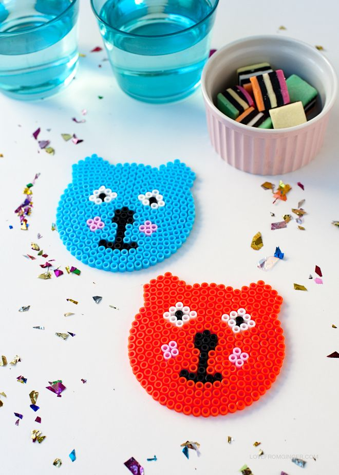 DIY Perler Bead Bear Coasters | Love From Ginger