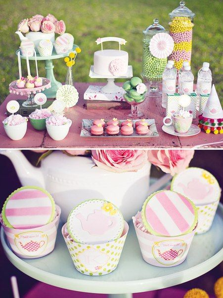 Adorable tea party set up. Love the colors. Could make the ...