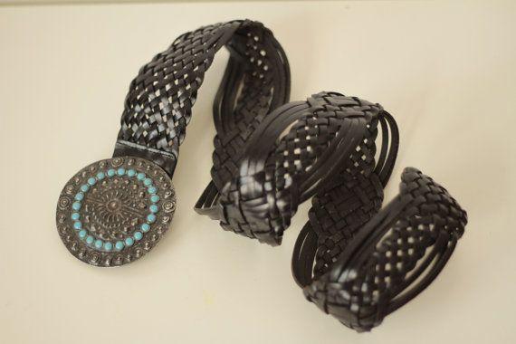 Cintura donna boho anni 70 di pelle intrecciata di UndiciVintage