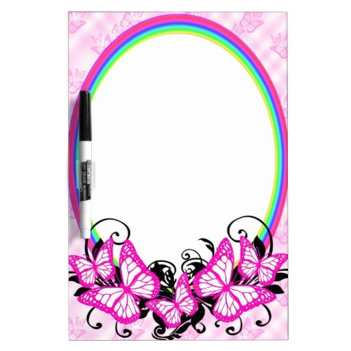 Pink White Black Butterflies And Rainbows Dry-Erase Board - This design features pink butterflies with white wings sitting on a rainbow and black, curly, swirly leaves. The background has a pink and white tartan style with lots of pretty pink butterflies arranged in a pattern all over.