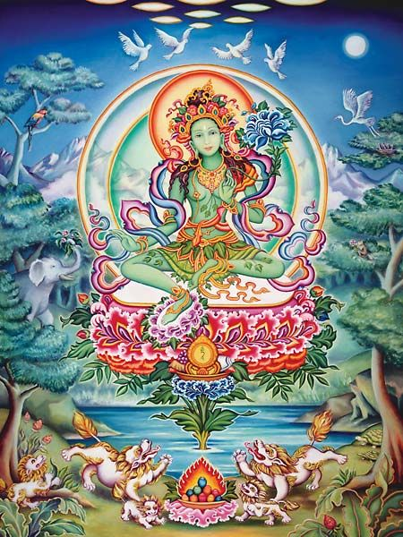 The meaning of Green Tara is goddess of compassion, and why she sits with one foot extended is because she is ready to come to the aid of the suffering in an instant.  She is a goddess of compassionate action and protection.