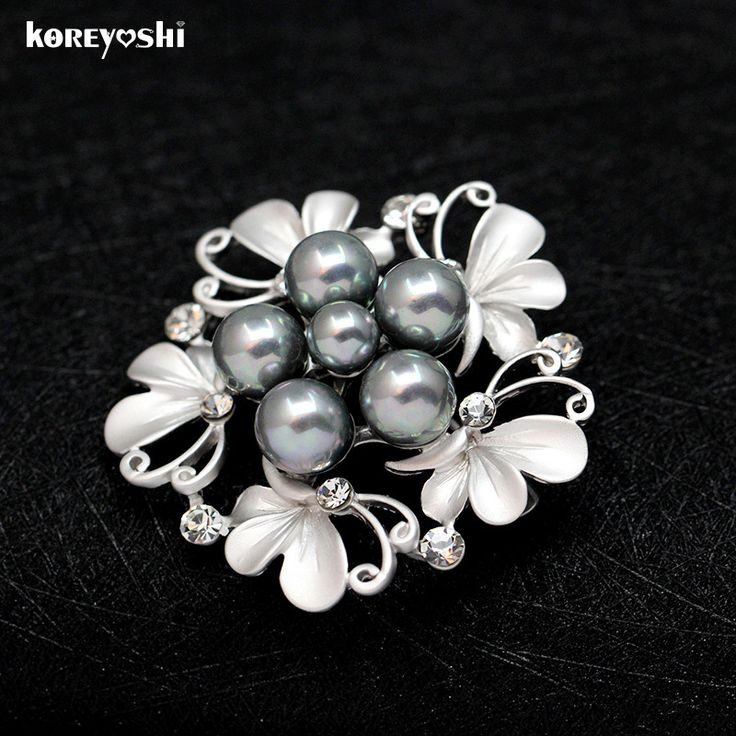 Charm Matte gold/silver Simulated-pearl Rhinestone Flower brooch Rose flower corsage wedding dress lapel pin brooches for women