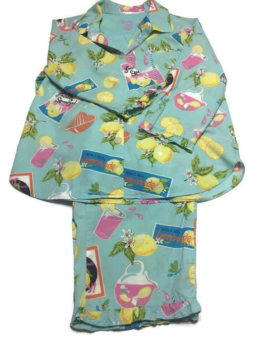 Nick And Nora Lemon Squeeze Lemonade Cotton Capri Pajama Set Size Medium #NickNora #PajamaSets #Everyday
