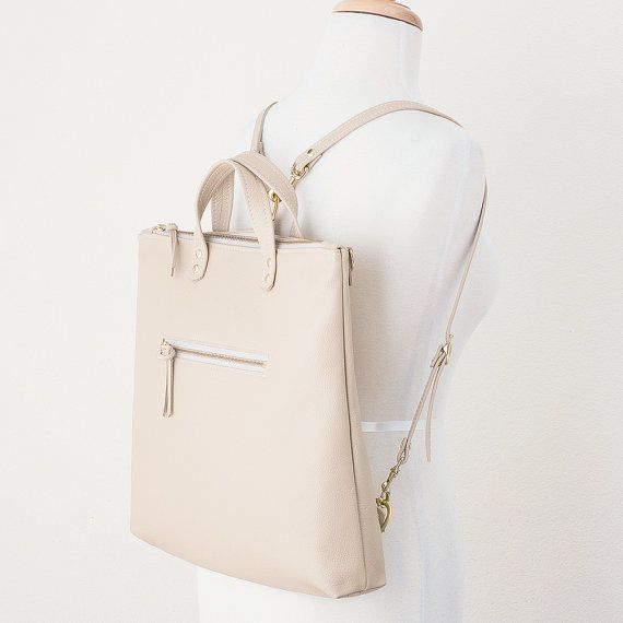 Tan Leather Backpack Women's Convertible Backpack by JillyDesigns