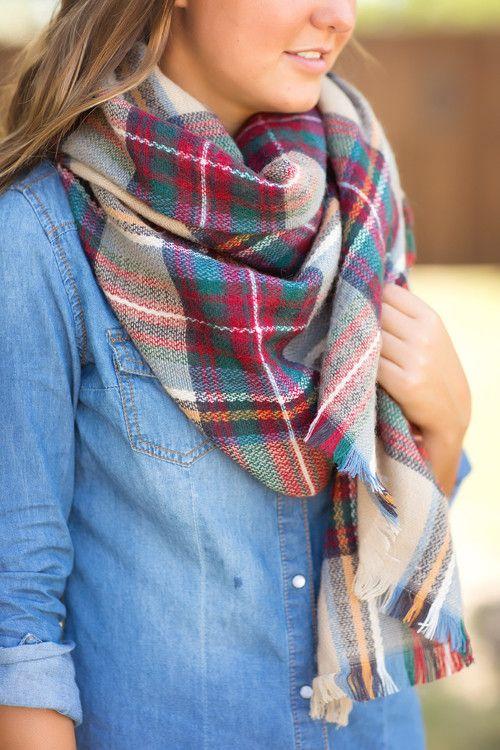 Fall scarf, plaid scarf, blanket scarf, tartan plaid scarf-Cute & Cozy Plaid Scarf-Multi by Jane Divine Boutique www.janedivine.com