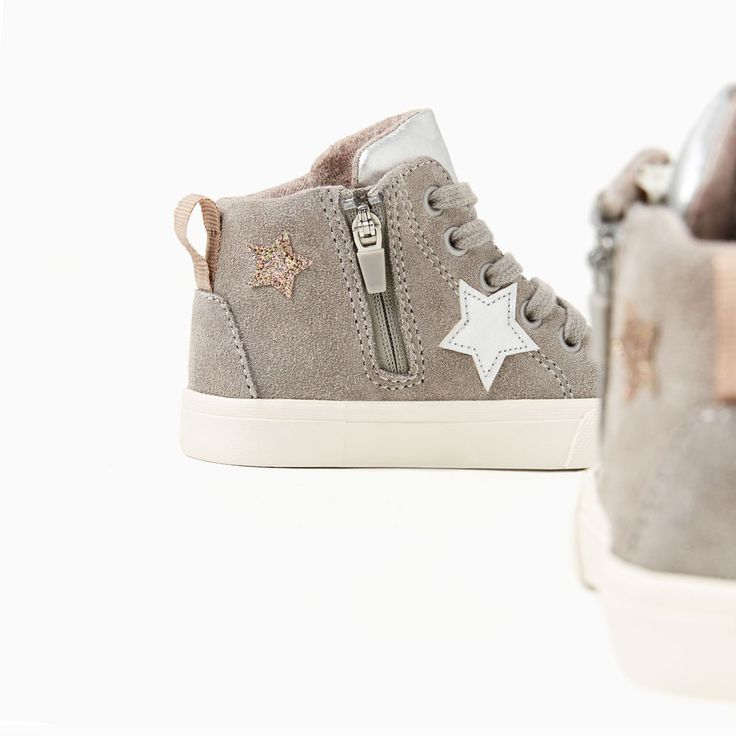 STARS HIGH-TOP LEATHER SNEAKERS-SHOES AND BAGS-BABY GIRL | 3 months-3 years-KIDS | ZARA United States