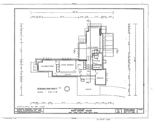 Pope leighey house plan habs va 30 falch 2 category for Frank lloyd wright house plans