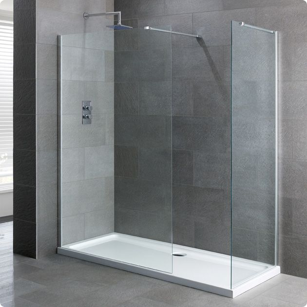 Duchy Select Silver Walk-In Shower Enclosure 1200mm x 760mm, Standard Tray, 6mm Glass