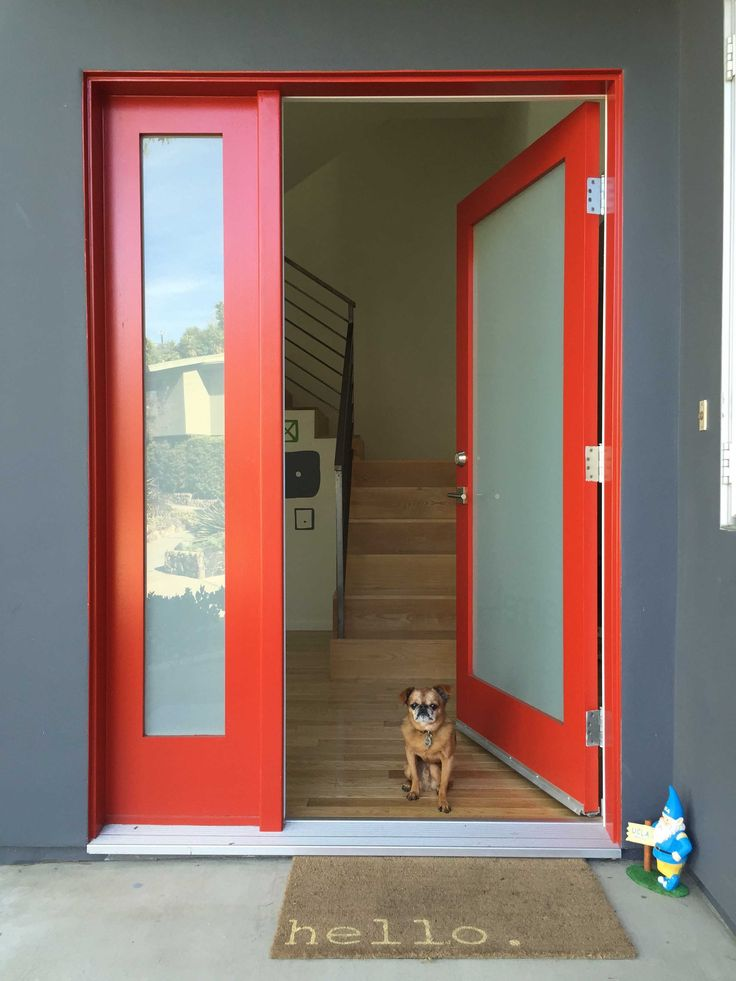 Red full-view front door with side-light and frosted glass. Very similar to our current configuration.