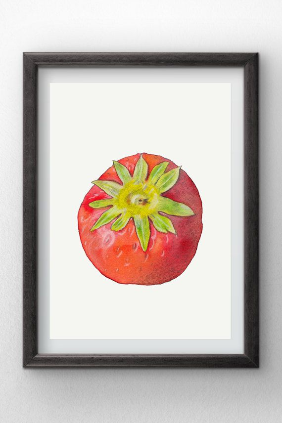 Strawberry  Watercolor painting  instant digital by Penfood