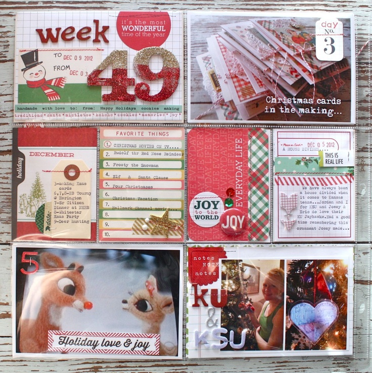 Mish Mash: Project Life 2012, Week 49 + Daily December. Good ideas for making your own filler cards and journal spots