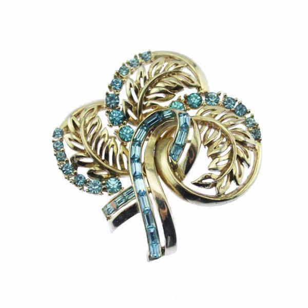 Coro Gold and Blue Rhinestone Brooch