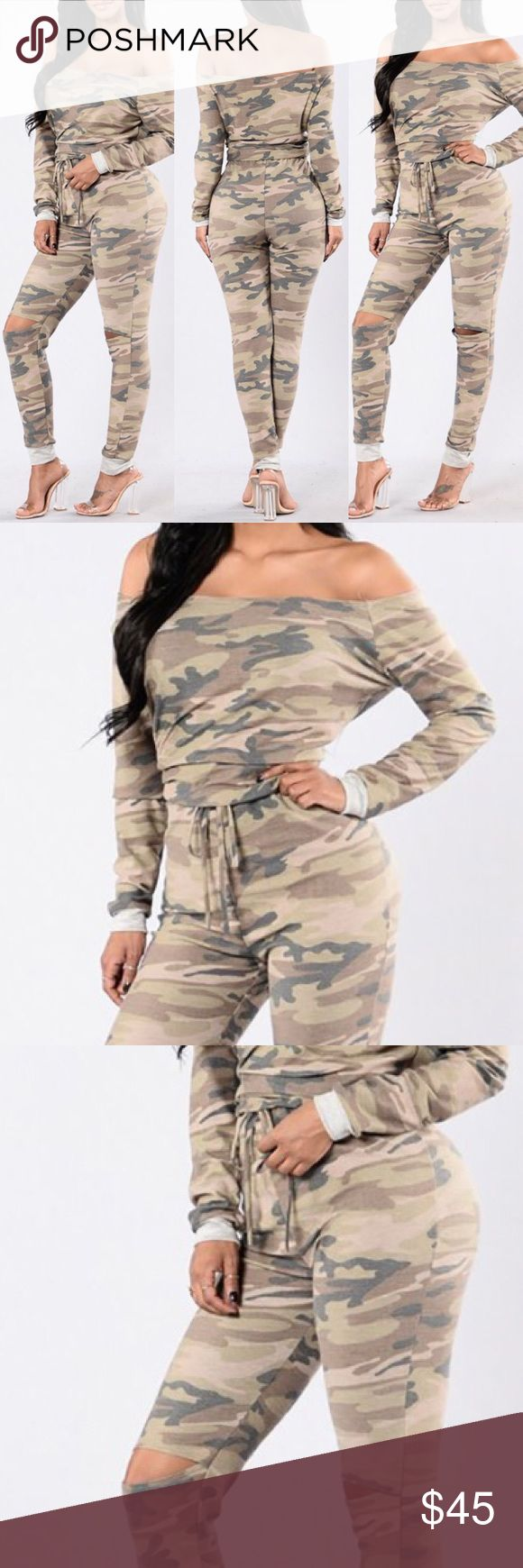 Sexy Women Off Shoulder Camouflage Jumpsuit color:	Multicolor pattern:	Print neckline:	Slash Neck material:	Elastic Fabric style:	Sexy sleeveLength:	Long Sleeve. Pants Jumpsuits & Rompers