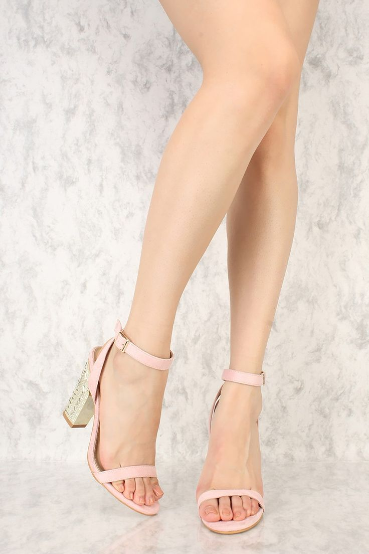 Sexy Blush Ankle Strap Carved Pattern Chunky Heel Single Soles Faux Suede