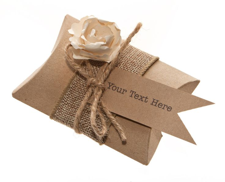 Recycled Kraft Card Wedding pillow Box Favours ( pack of 50 )