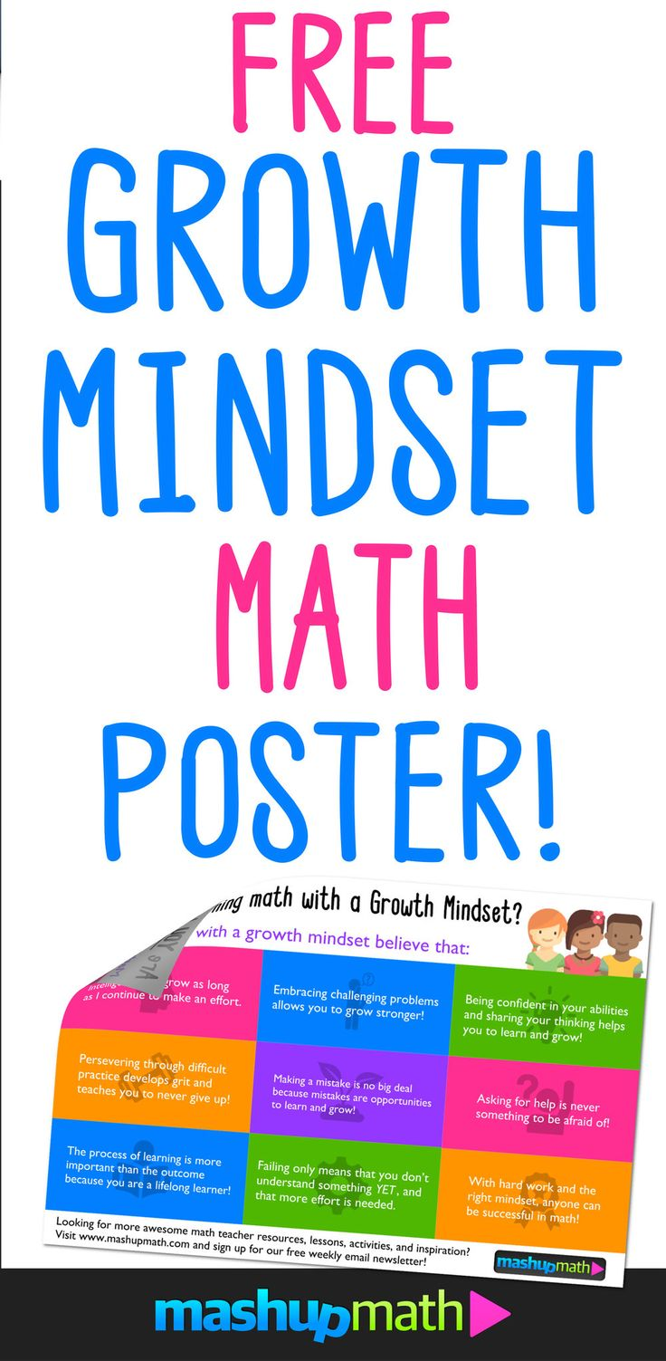 Get Your Free Growth Mindset Math Poster and Infogaphic for Middle School, Elementary School, and High School (Printable PDF)