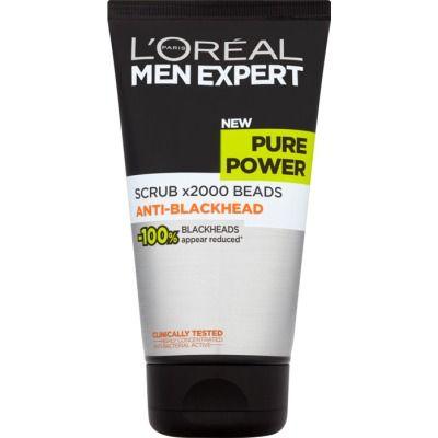 men expert gel exfoliante pure power 150 ml. todo tipo de piel