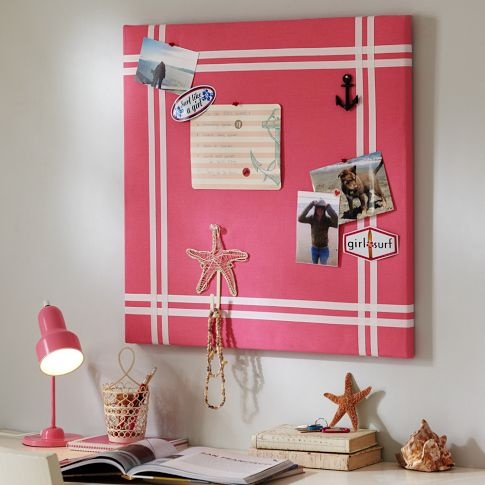 How simple! Cover a corkboard in fabric of your choice, decorate with ribbon and whatever you like! Would look great in kids rooms!!
