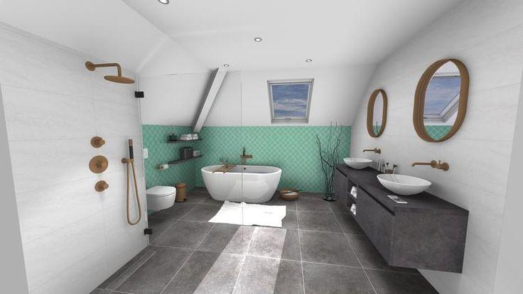 (@ Middelkoop Culemborg / badkamers) Luxe badkamer met prachtige turquoise tegels gecombineerd met koperkleurige kranen van Hotbath. Het badkamer-meubel biedt ruim de mogelijkheid om alles van handdoeken tot shampoo in de badkamer op te bergen. Om de strakke lijnen wat te breken is hier een open vak toegepast wat perfect is voor wat decoratie. Wij kunnen niet wachten totdat deze badkamer gerealiseerd is.    Voor meer badkamerideeën zie onze website…