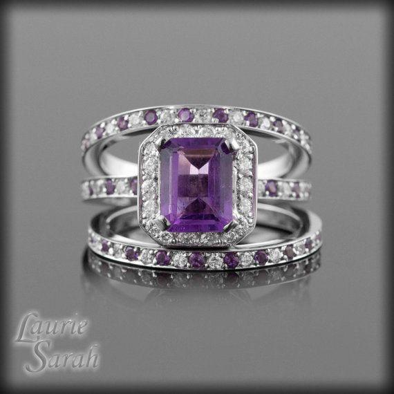 3 Ring Amethyst Wedding Set Emerald Cut by LaurieSarahDesigns.