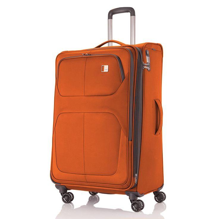 Erweiterbarer mittlerer #Koffer TITAN Nonstop bei Koffermarkt: ✓orange ✓4 Rollen ✓68 x 42 x 28 cm ✓Weichgepäck