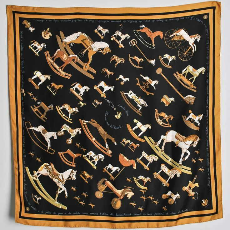 Vintage Authentic HERMES Raconte Moi le Cheval Dimitri R Toy Rocking Horse Scarf