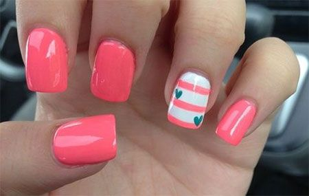 valentine's day nail designs | Cute Little Heart Nail Art Designs & Ideas 2014 For Valentine's Day