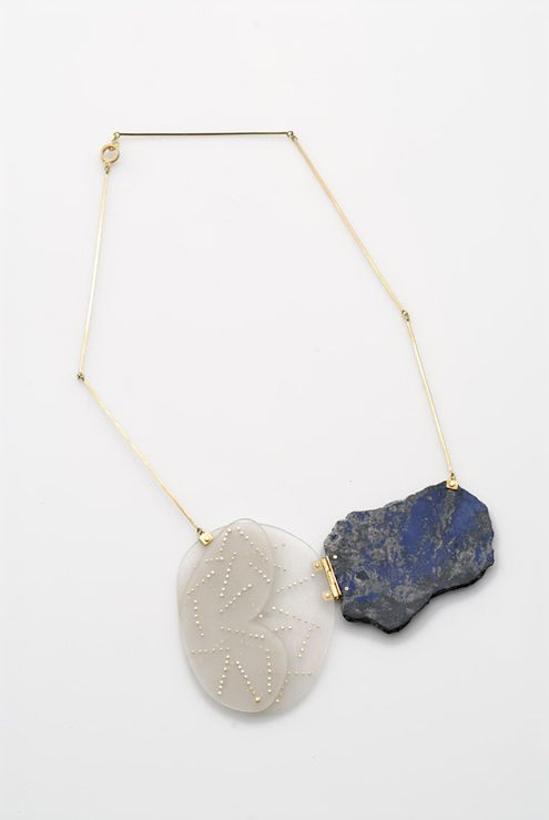 Marzia Rossi Necklace: Untitled 2006 Acrylic glass, gold, lapislazuli, shibuishi