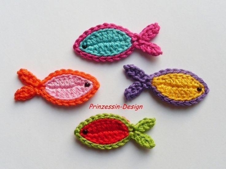 Häkelapplikationen - Fische - ein Designerstück von Prinzessin-Design bei DaWanda