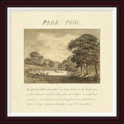 "Global Gallery Park Pool, 1813 by Humphry Repton Framed Painting Print Size: 28"" H x 28"" W"