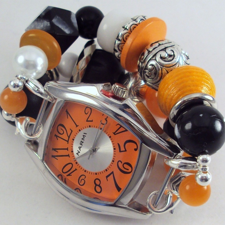 Halloween Time.. Chunky Black and Orange Wood, Resin, Glass and Acrylic Interchangeable Beaded Watch Band. $20.00, via Etsy.