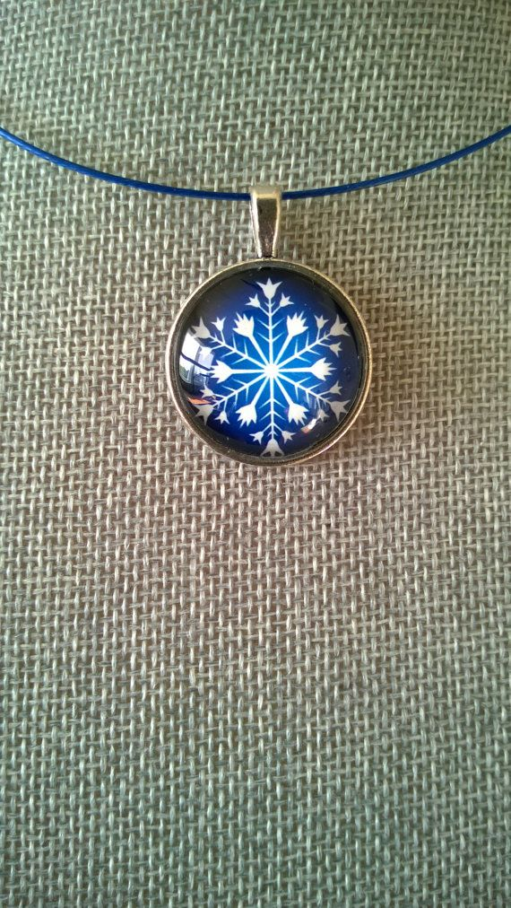 Blue jewelry blue necklace Snowflake by LesBijouxLibellule on Etsy