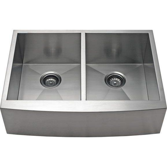"Alpha International 36"" x 21.62"" Apron Farm 50/50 Double EqualBowl Kitchen Sink"