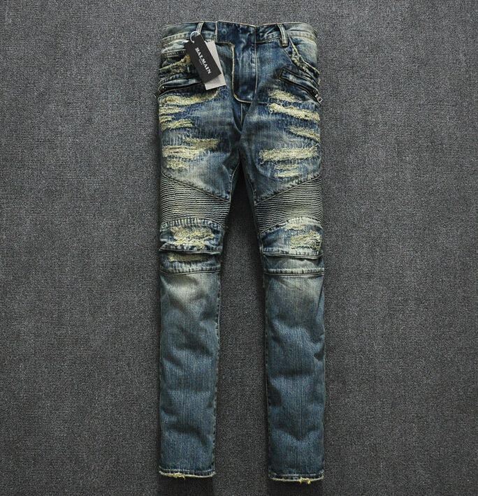 Balmain Jeans Men Prices | Home > Balmain Jeans >Motorcycle Balmain Ripped Jeans 2014 Style