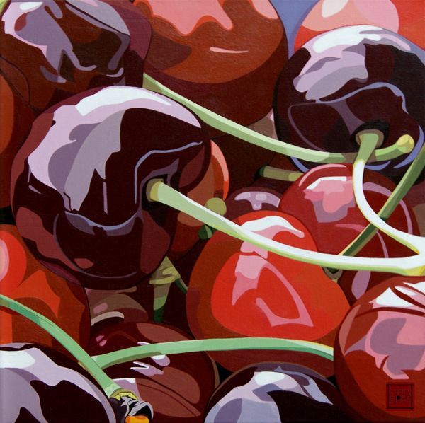 Title: Cherries. Medium: Acrylic