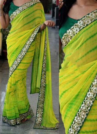 Yellow Green Embroidery Work Georgette Designer Printed Sarees http://www.angelnx.com/Sarees/Designer-Sarees