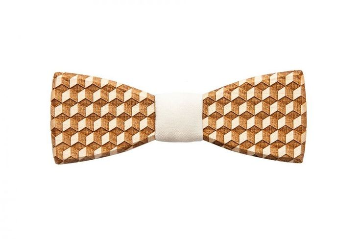Cubo wooden bow tie - collection for men summer 2017. The best accessory for wedding! The Cubo bow tie is one of our bestsellers!The lightly colored, original and detailed pattern on the front of the wooden bow tie means that this wooden bow tie fits especially well with a white dress shirt. Choose this accessory for your special day, as it is light and easy to wear thanks to the elastic and adjustable neck band for maximum comfort and the dynamic yet simple cubical pattern that was added to…
