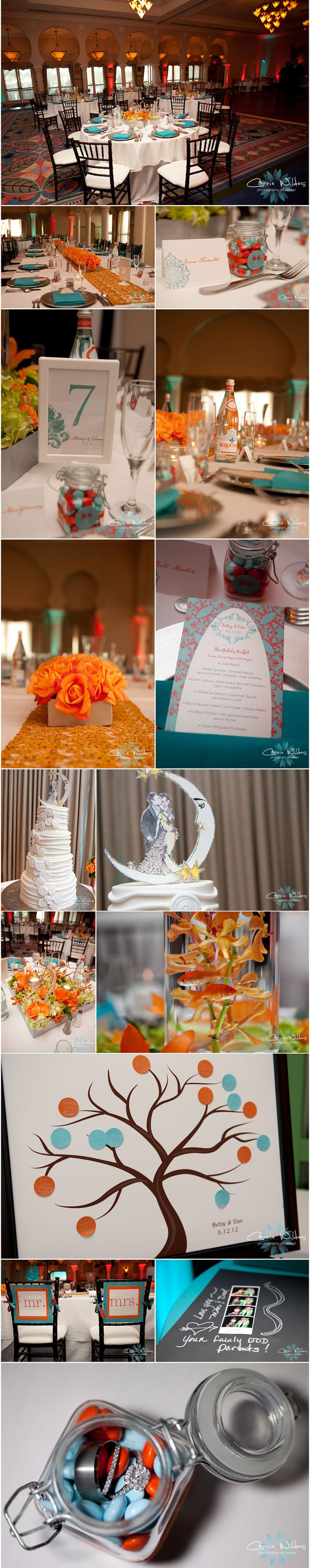 #orange and #aqua #wedding details! sign in tree, goldfish #renaissance Vinoy #st pete: Aqua And Orange Wedding Cakes, Orange Flower, Orange And Aqua Wedding, Color, Renaissance Vinoy, Aqua Orange Wedding, Orange Aqua, Goldfish Renaissance, Wedding Details