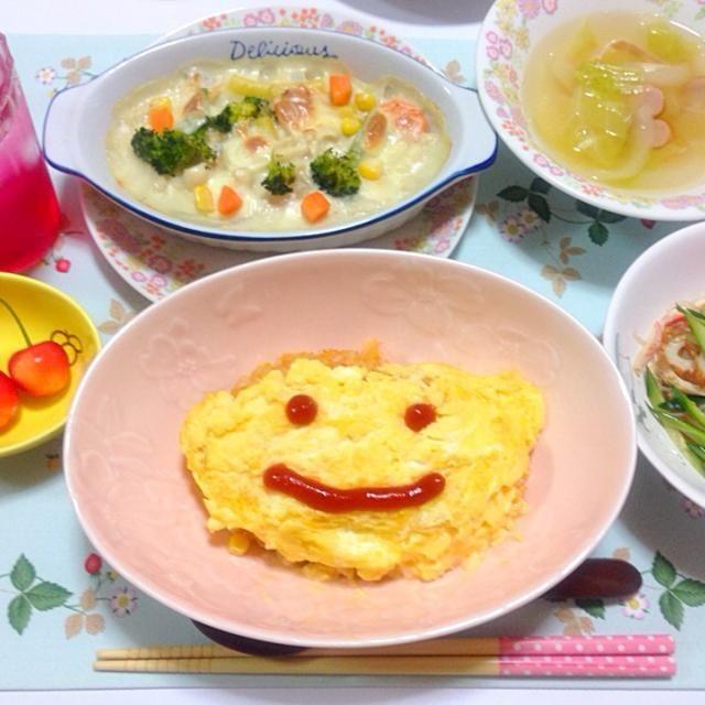 オムライスのお顔が、ちょっと苦笑いになっちゃいました(ノ_<)✨ - 11件のもぐもぐ - 今日の夕食(^ ^) by gogonacchan1130