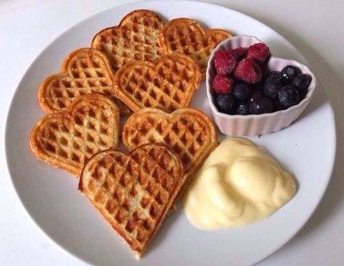 Heart shaped waffles .