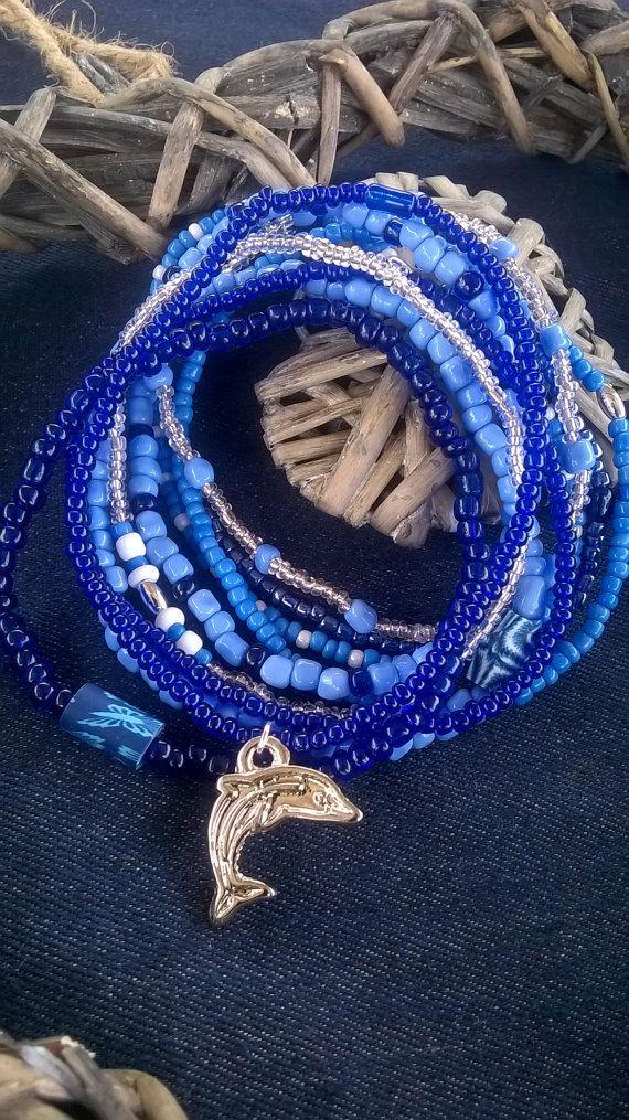 Blue Surf Beaded Bracelet Stack Bracelet by AhyokaByBernice