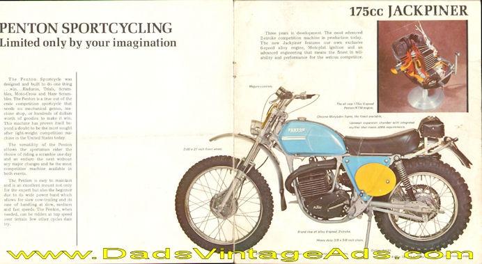 Circa 1973 Penton 175cc Jackpiner Photo & Specs Brochure