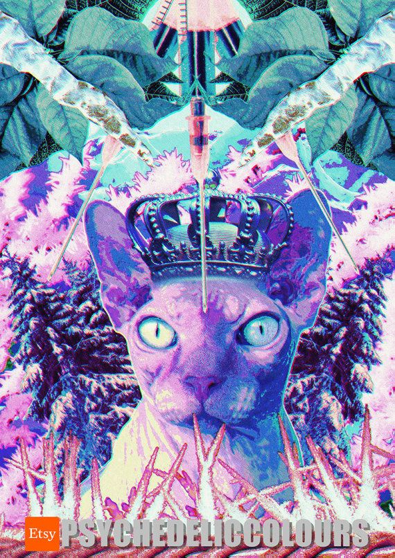 Cat Queen of the North Telishia, the Goddes of Cold and Suffering - Printable Psychedelic Poster!  If youre bored with your standard cat poster or art, just give Telishia - the Goddess of Cold with a dead stare a chance! Its beat to hang her somewhere where all the visitors coming to your house will see her immediately. Not only it will show to all of your guests that you have a good taste, but also that you dont mess around. And you have a cat poster full of unspoken misery to prove that…