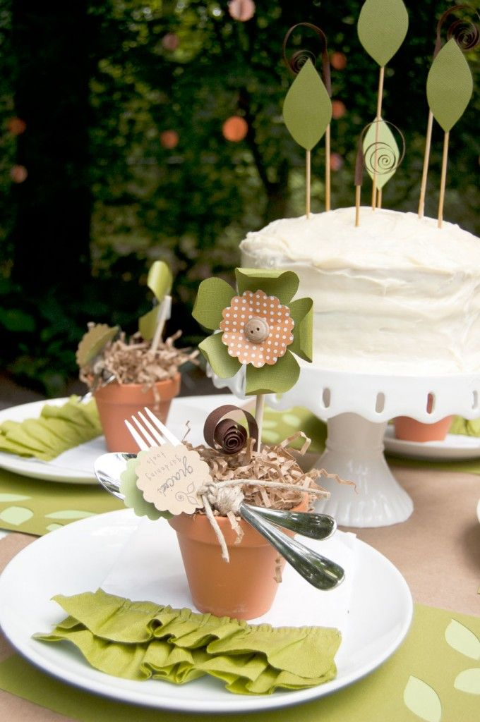 Garden (Seed) Theme Ideas.  I love the cake.  Simple but very pretty.