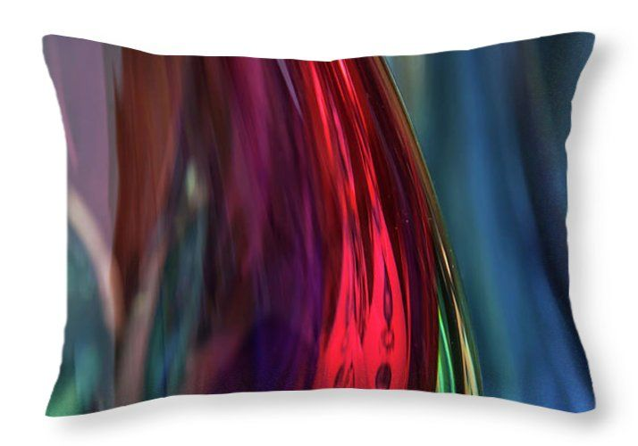 Jenny Rainbow Fine Art Photography Throw Pillow featuring the photograph Burgundy Blue Glass Abstract by Jenny Rainbow