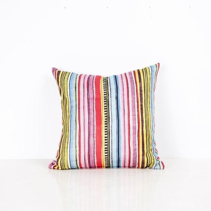 Power Stripe Cushion - 50cm x 50cm from Ambience Store. Multi coloured stripe cushion.