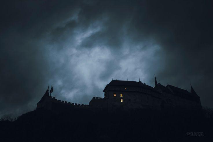 Night at Karlstejn castle Karlstejn castle - Czech Republic  by Václav Štěch