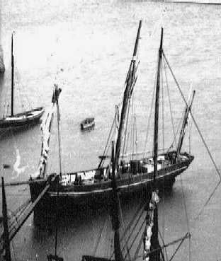 Thre masted lugger in St Helier harbour c.1900